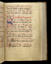 Decorated Initial And Music For The Feast Of The Purification, In The Crowland Gradual